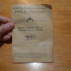 Militaria: COOPERATIVA ESPAÑOLA DE CASAS BARATAS PABLO IGLESIAS, UGT, PSOE, GUERRA CIVIL.. Lote 48407666
