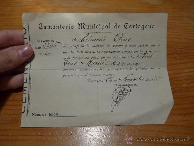 DOCUMENTO DE GUERRA CIVIL. CEMENTERIO MUNICIPAL CARTAGENA, NOV 1936 (Militar - Guerra Civil Española)