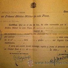 Militaria: TRIBUNAL MEDICO MILITAR DE CIUDAD REAL 1938 GUERRA CIVIL. Lote 48543458