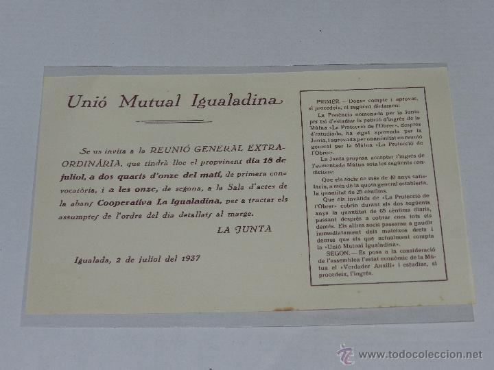 IGUALADA - OCTAVILLA UNIO MUTUAL IGUALADINA , IGUALADA 2 DE JULIO DE 1937, 22 X 14 CM, BUEN ESTADO (Militar - Guerra Civil Española)