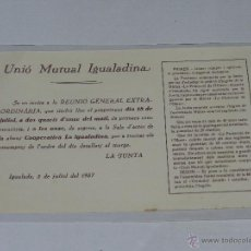 Militaria: IGUALADA - OCTAVILLA UNIO MUTUAL IGUALADINA , IGUALADA 2 DE JULIO DE 1937, 22 X 14 CM, BUEN ESTADO. Lote 48558074
