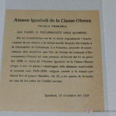 Militaria: IGUALADA - OCTAVILLA ATENEU IGUALADI DE LA CLASSE OBRERA ESCOLA PRIMARIA ,IGUALADA 10 D'OCTUBRE 1938. Lote 48558119
