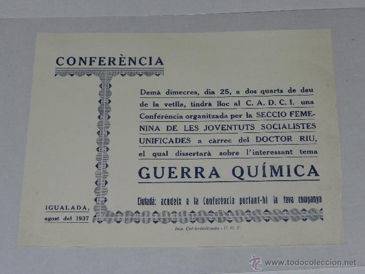IGUALADA OCTAVILLA CONFERENCIA SOBRE LA GUERRA QUIMICA, IMP COL.LETIVITZADA UGT, IGUALADA 1937 (Militar - Guerra Civil Española)