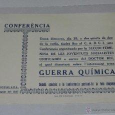 Militaria: IGUALADA OCTAVILLA CONFERENCIA SOBRE LA GUERRA QUIMICA, IMP COL.LETIVITZADA UGT, IGUALADA 1937. Lote 48558304