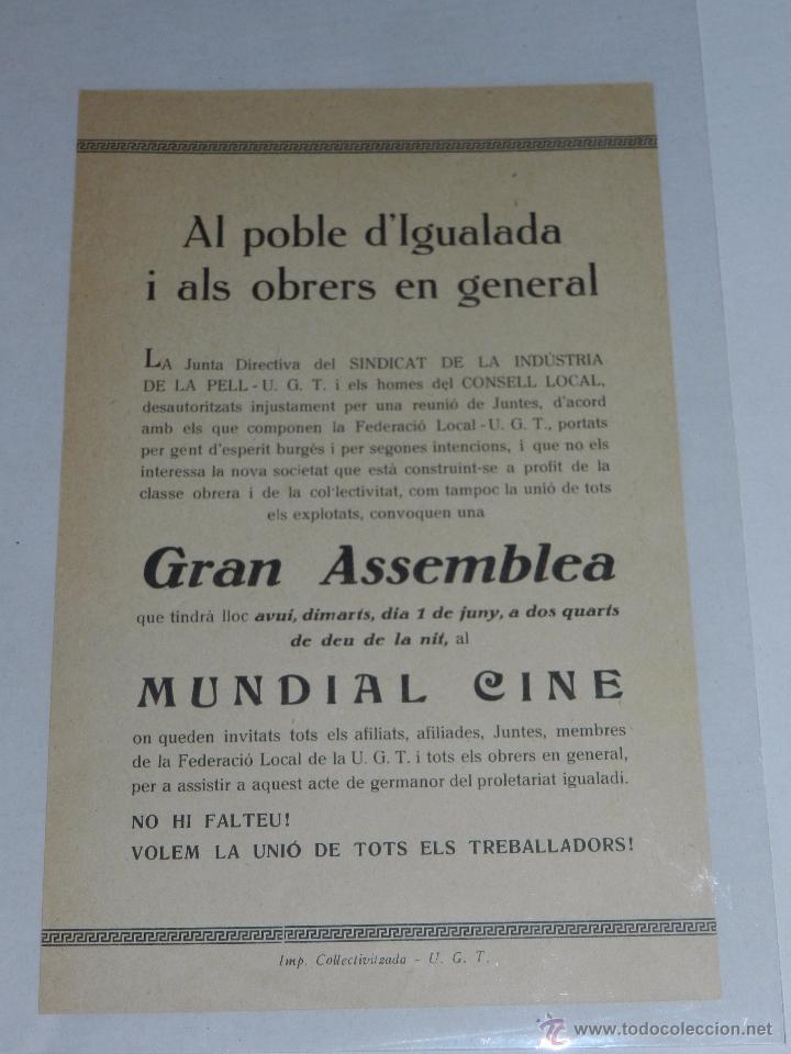 IGUALADA - OCTAVILLA AL POBLE D'IGUALADA I ALS OBRERS EN GENERAL, SINDICAT INDUSTRIAL DE PELL UGT (Militar - Guerra Civil Española)