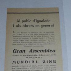 Militaria: IGUALADA - OCTAVILLA AL POBLE D'IGUALADA I ALS OBRERS EN GENERAL, SINDICAT INDUSTRIAL DE PELL UGT . Lote 48558439