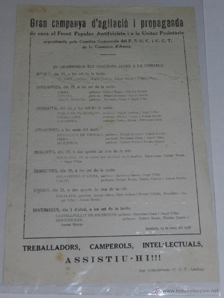 IGUALADA OCTAVILLA CAMPANYA D'AGITACIO I PROPAGANDA DE CARA AL FRONT POPULAR ANTIFEIXISTA PSUC UGT (Militar - Guerra Civil Española)
