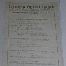 Militaria: IGUALADA OCTAVILLA CAMPANYA D'AGITACIO I PROPAGANDA DE CARA AL FRONT POPULAR ANTIFEIXISTA PSUC UGT. Lote 48558563