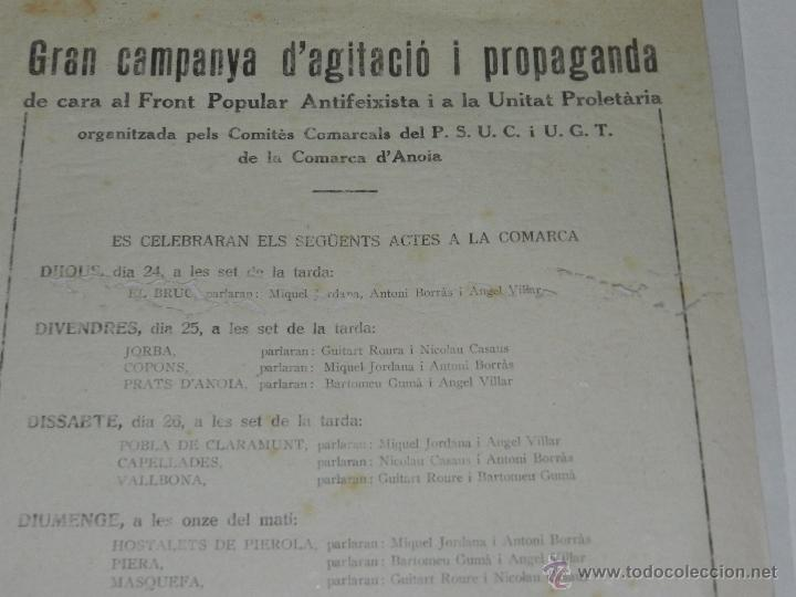 Militaria: IGUALADA OCTAVILLA CAMPANYA DAGITACIO I PROPAGANDA DE CARA AL FRONT POPULAR ANTIFEIXISTA PSUC UGT - Foto 2 - 48558563