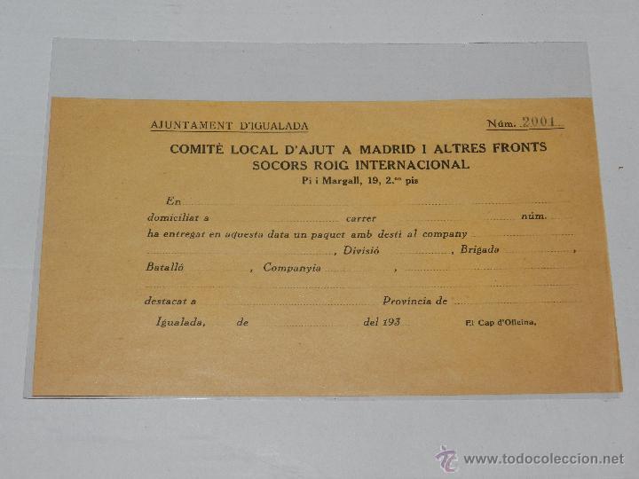 IGUALADA - OCTAVILLA COMITE LOCAL D'AJUT A MADRID I ALTRES FRONTS SOCORS ROIG INTERNACIONAL (Militar - Guerra Civil Española)