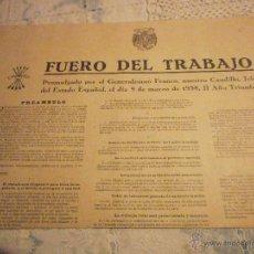 Militaria: CARTEL FUERO DEL TRABAJO DE FALANJE ESPAÑOLA1938-RARO-. Lote 48679561