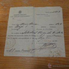 Militaria: DOCUMENTO REPUBLICANO DE BARCELONA, 1938, ADMINISTRACION DE PROPIEDADES, GUERRA CIVIL. Lote 49151958