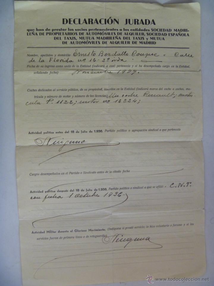 GUERRA CIVIL : DECLARACION JURADA ,MILICIAS CLANDESTINAS DE FALANGE , MILITANTE EN CNT , MADRID 1939 (Militar - Guerra Civil Española)
