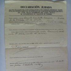 Militaria: GUERRA CIVIL : DECLARACION JURADA ,MILICIAS CLANDESTINAS DE FALANGE , MILITANTE EN CNT , MADRID 1939. Lote 49201290