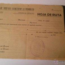 Militaria: CUERPO DE TREN DEL EJERCITO DE LA REPUBLICA-HOJA DE RUTA-3ª DIVISION-SIN RELLENAR. Lote 49772549
