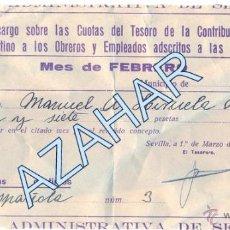 Militaria: SEVILLA,1938,GUERRA CIVIL,RECARGO CONTRIBUCION INDUSTRIAL PARA MILICIAS VOLUNTARIAS, RARO. Lote 50181947
