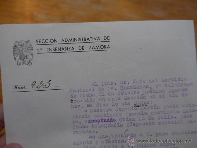 Militaria: Antiguo documento enseñanza de zamora, 1938, guerra civil - Foto 3 - 50599816