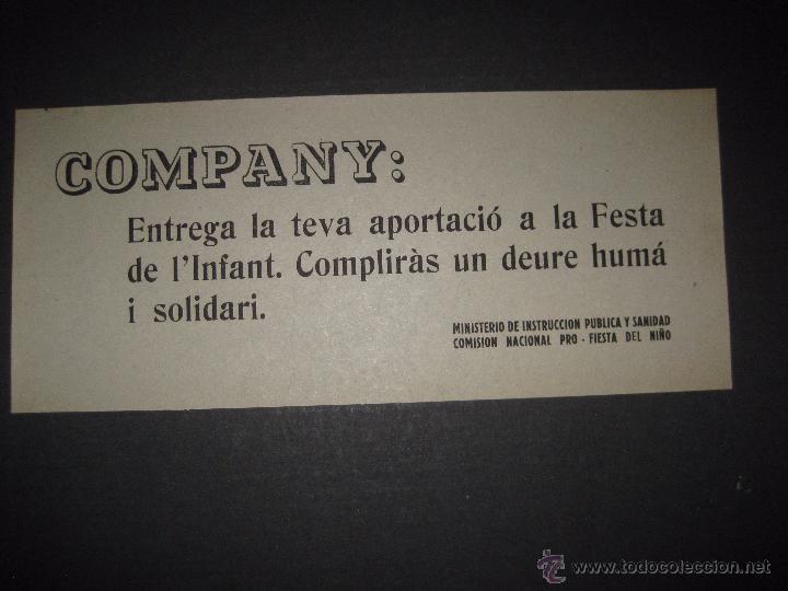 COMPANY ....- PRO FIESTA DEL NIÑO - PASQUIN 10 X 25 CM (Militar - Guerra Civil Española)