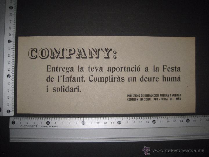 Militaria: COMPANY ....- PRO FIESTA DEL NIÑO - PASQUIN 10 X 25 CM - Foto 3 - 51025101