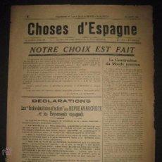 Militaria: GUERRA CIVIL - CHOSES D´ESPAGNE - REVUE ANARCHISTE - 19 AGOSTO 1936 - REVISTA 4 HOJAS . Lote 51025268