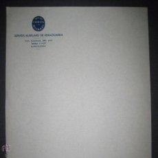 Militaria: GUERRA CIVIL- SERVEIS AUXILIARS DE RERAGUARDA BARCELONA - PAPEL DE CARTA 21 X 27 CM .. Lote 51025531