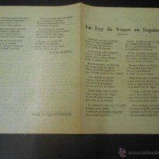 Militaria: GUERRA CIVIL - PROPAGANDISTICO DEL GOBIERNO REPUBLICANO - LA LEY DE VAGOS EN ESPAÑA. Lote 51523474
