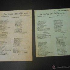 Militaria: GUERRA CIVIL - PROPAGANDISTICO DEL GOBIERNO REPUBLICANO - LA CARTA DEL MILICIANO - 1ª Y 2ª PARTE. Lote 51523537
