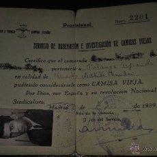 Militaria: DOCUMENTO PROVISIONAL SERVICIO ORDENACION CAMISAS VIEJAS FALANGE 1939 GUERRA CIVIL. Lote 51713437