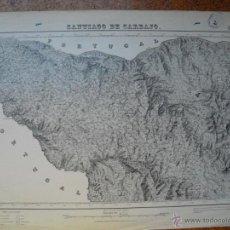 Militaria: GUERRA CIVIL MAPA DE SANTIAGO DE CARBAJO EJTO. NACIONAL SELLO DEL CUARTEL GENERAL DEL GENERALISIMO. Lote 51729827