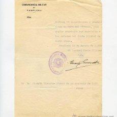 Militaria: DOCUMENTO DE LLAMAMIENTO A FILAS 1936 COMANDANCIA MILITAR DE PAMPLONA VERA DEL BIDASOA. Lote 52558364