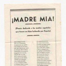 Militaria: FOLLETO. MADRE MIA POESIA DEDICADA A LAS MADRES DE SOLDADOS. 1937. GUERRA CIVIL ESPAÑOLA.. Lote 52940844