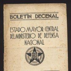 Militaria: BOLETIN DECENAL DEL ESTADO MAYOR CENTRAL REPUBLICANO. SECCION EJERCITO DE TIERRA. GUERRA CIVIL. 1937. Lote 52941395