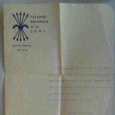 Militaria: GUERRA CIVIL : FALANGE : NOMBRAMIENTO JEFA LOCAL , SECCION FEMENINA . SEVILLA, 1937.. Lote 53737518