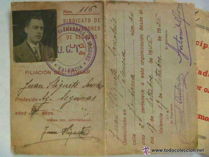 GUERRA CIVIL : CARNET DE LA UGT . VALENCIA , OCTUBRE 1936 , Y PASQUIN (Militar - Guerra Civil Española)