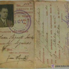 Militaria: GUERRA CIVIL : CARNET DE LA UGT . VALENCIA , OCTUBRE 1936 , Y PASQUIN. Lote 54064368