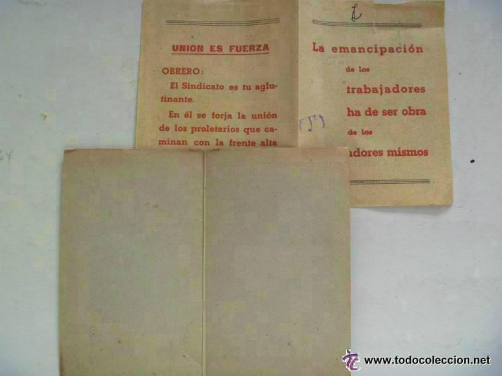 Militaria: GUERRA CIVIL : CARNET DE LA UGT . VALENCIA , OCTUBRE 1936 , Y PASQUIN - Foto 2 - 54064368