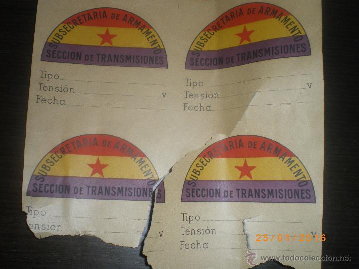 4 PEGATINAS SUBSECRETARIA ARMAMENTO REPUBLICANAS, GUERRA CIVIL (Militar - Guerra Civil Española)