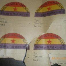 Militaria: 4 PEGATINAS SUBSECRETARIA ARMAMENTO REPUBLICANAS, GUERRA CIVIL. Lote 54420064