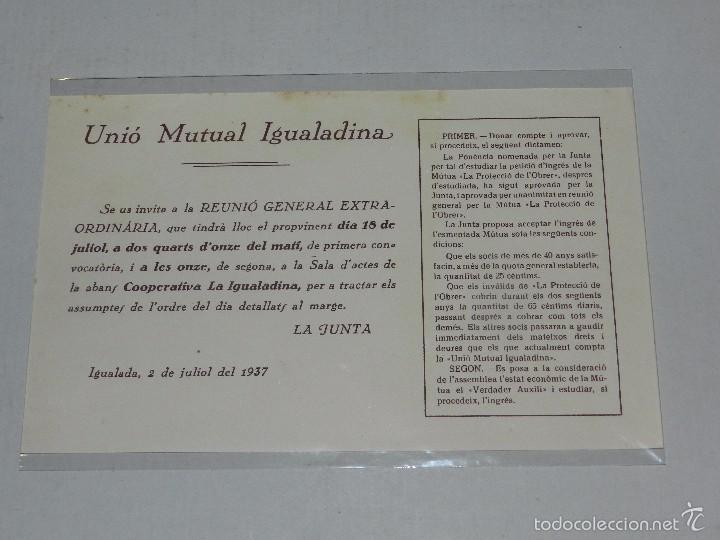 M) IGUALADA - PANFLETO UNIO MUTUAL IGUALADINA ,REUNIO GENERAL EXTRAORDINARIA, IGUALADA 2 JULIOL 1937 (Militar - Guerra Civil Española)