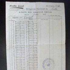 Militaria: GUERRA CIVIL : FALANGE : DOCUMENTO AUXILIO SOCIAL , CON VIÑETA . SEVILLA, JULIO 1938. Lote 56656473