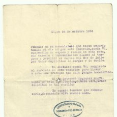 Militaria: GIJON. ASTURIAS GUERRA CIVIL.1936. COMISION DEPURADORA Y GOBIERNO DE PRO-INFANCIA. DOCUMENTO. FRENTE. Lote 56692647