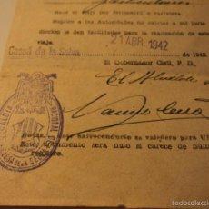 Militaria: SALVOCONDUCTO GUERRA CIVIL ESPAÑOLA 1942 CASSA DE LA SELVA CON FOTOGRAFIA. Lote 57004796