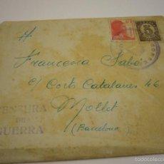 Militaria: CARTA ESCRITA CENSURA MILITAR 8 DE DICIEMBRE 1938. Lote 57026098