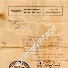 Militaria: SEVILLA,1938, GUERRA CIVIL, AVIACION,AUTORIZACION PARTE TRABAJO TALLER. Lote 57482349