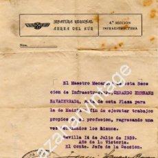 Militaria: SEVILLA,1939, GUERRA CIVIL, AVIACION,AUTORIZACION VIAJE A MADRID DE UN MECANICO. Lote 171443947