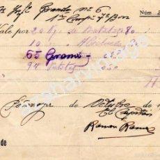 Militaria: PEÑARROYA, CORDOBA,1937, GUERRA CIVIL, VALE COMESTIBLES REG.INFANTERIA GRANADA Nº6. Lote 57724555