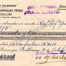 Militaria: PEÑARROYA, CORDOBA,1937, GUERRA CIVIL, CASA LA VALERIANA, RECIBO AL REG.INFANTERIA GRANADA Nº6. Lote 57724619