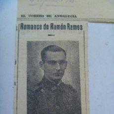 Militaria: GUERRA CIVIL : RECORTE DE EL CORREO DE ANDALUCIA CON ROMANCE A UN CAPITAN NACIONAL CAIDO. 1938. Lote 194966945