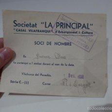 Militaria: CARNET SOCIO CASAL SOCIETAT LA PRINCIPAL. REPUBLICANA, 1938, GUERRA CIVIL. VILAFRANCA DEL PENEDES. . Lote 58271637