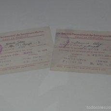 Militaria: LOTE 2 CASAL SOCIETAT LA PRINCIPAL. REPUBLICANA, 1937, GUERRA CIVIL. VILAFRANCA DEL PENEDES.. Lote 58271652